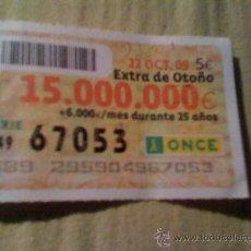 Cupones ONCE: CUPÓN DE LA ONCE DEL 22 DE OCTUBRE DE 2009.. Lote 16442578