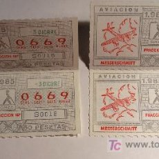 Cupones ONCE: LOTE 4 CUPONES LOTERIA ONCE 1985 AVIACION. Lote 16630909