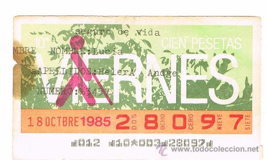 CUPON DE LA ONCE DE 1985 (Coleccionismo - Lotería - Cupones ONCE)
