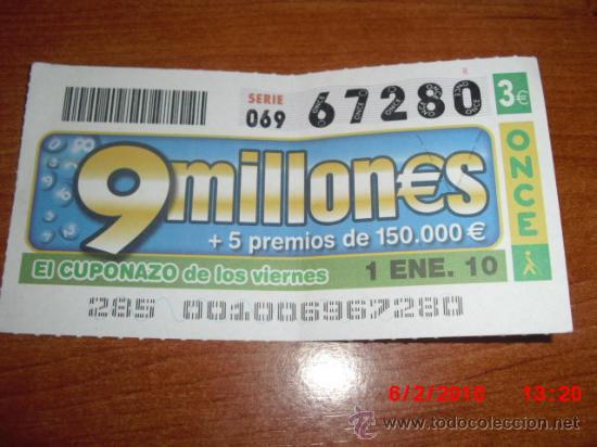 CUPON DE LA ONCE 2010 ENERO DIA 1 EL CUPONAZO (Coleccionismo - Lotería - Cupones ONCE)