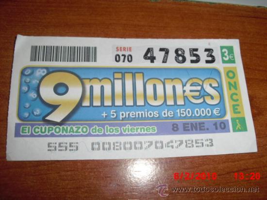 CUPON DE LA ONCE 2010 ENERO DIA 8 EL CUPONAZO (Coleccionismo - Lotería - Cupones ONCE)
