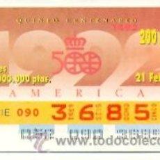Cupones ONCE: 8-210292. CUPON ONCE. 21 FEBRERO 1992. AMÉRICA QUINTO CENTENARIO. Lote 17517662