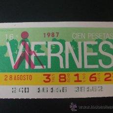 Cupones ONCE: CUPON VIERNES 28 AGOSTO 1987. Lote 18908643
