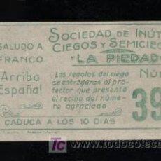 Cupones ONCE: SOCIEDAD DE INUTILES, CIEGOS Y SEMICIEGOS. 1938. CUPON PRECIEGOS.. Lote 22838380