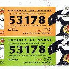 ONCE Coupons - Simpaticas papeletas de loteria de Navidad 2000 Bar Europa Xativa Valencia - 19740076