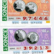 Cupones ONCE: 2 CUPONES DE LA ONCE NOVIEMBRE 1995, MONEDAS. Lote 21985085