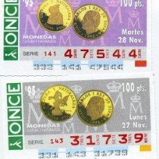 Cupones ONCE: 2 CUPONES DE LA ONCE NOVIEMBRE 1995, MONEDAS. Lote 21985126
