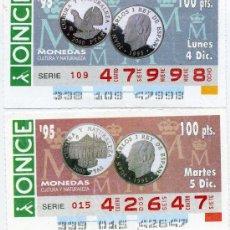 Cupones ONCE: 2 CUPONES DE LA ONCE DICIEMBRE 1995, MONEDAS. Lote 21985139