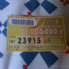 Cupones ONCE: CUPÓN DE LA ONCE DEL 17 DE AGOSTO DE 2010. EXTRA VERANO.. Lote 22358436