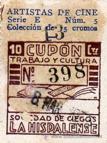 CUPON SOCIEDAD DE CIEGOS LA HISPALENSE, 8 DE MARZO 1935 (Coleccionismo - Lotería - Cupones ONCE)