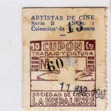 Cupones ONCE: CUPON DE LA SOCIEDAD DE CIEGOS LA HISPALENSE,11 DE MARZO 1935. Lote 24095548