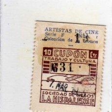 Cupones ONCE: CUPON DE LA SOCIEDAD DE CIEGOS LA HISPALENSE, 7 DE MARZO 1935. Lote 24095669