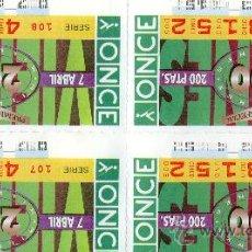 Cupones ONCE: 4 CUPONES IGUALES DE LA ONCE AÑO 1995 . Lote 24287617
