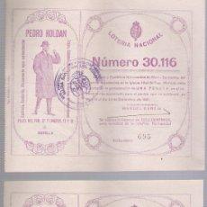 ONCE Coupons - Lote de 2 participaciones de Navidad de 1921. Hermandad del Rosario. Publi. Pedro Roldan.Sevilla - 24871354
