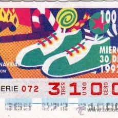 Cupones ONCE: CUPON DE LA ONCE Nº 31000 DEL MIERCOLES 30 DE DICIEMBRE DE 1992 LA NAVIDAD NUEVO. Lote 25612261