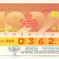 Cupones ONCE: 8-120692. CUPÓN ONCE. 12-6-92. AMERICA. QUINTO CENTENARIO. Lote 43246807