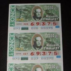 Cupones ONCE: CUPON ONCE TIRA DE 3 CUPONES PREMIO NOBEL DE LA PAZ LEON JOUHAUX Nº 69375 12 MARZO 1997. Lote 28238148