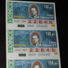Cupones ONCE: CUPON ONCE TIRA DE 3 CUPONES PREMIO NOBEL MEDICINA THOMAS WELLER Nº 22845 10 FEBRERO 1997. Lote 28238332