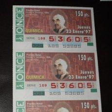 Cupones ONCE: CUPON ONCE TIRA DE 3 CUPONES PREMIO NOBEL QUIMICA NIKOLAJ SEMENOF Nº 53605 23 ENERO 1997. Lote 28238351