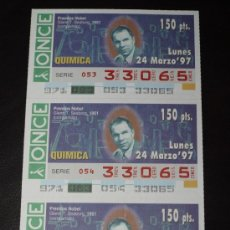 Cupones ONCE: CUPON ONCE TIRA DE 3 CUPONES PREMIO NOBEL QUIMICA GLENN SEABORG Nº 33065 24 MARZO 1997. Lote 28238379
