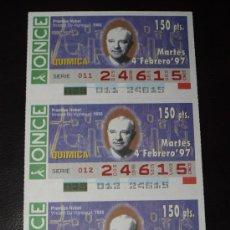 Cupones ONCE: CUPON ONCE TIRA DE 3 CUPONES PREMIO NOBEL QUIMICA VINCENT VIGNEAUD Nº 24615 4 FEBRERO 1997. Lote 28238394