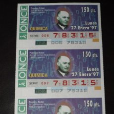 Cupones ONCE: CUPON ONCE TIRA DE 3 CUPONES PREMIO NOBEL QUIMICA SIR CYRIL NORMAN Nº 78315 27 ENERO 1997. Lote 28238424