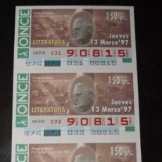 Cupones ONCE: CUPON ONCE TIRA DE 3 CUPONES PREMIO NOBEL LITERATURA PAR FABLAN Nº 90815 13 MARZO . Lote 28238444