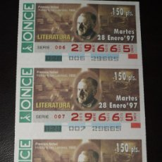 Cupones ONCE: CUPON ONCE TIRA DE 3 CUPONES PREMIO NOBEL LITERATURA HALLDOR KILJAN Nº 29665 28 ENERO 1997. Lote 28238493