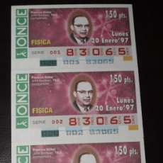 Cupones ONCE: CUPON ONCE TIRA DE 3 CUPONES PREMIO NOBEL FISICA JOHN BARDEEN Nº 83065 20 ENERO 1997. Lote 28238516