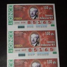 Cupones ONCE: CUPON ONCE TIRA DE 3 CUPONES PREMIO NOBEL FISICA WALTHER BOTHE Nº 85165 13 FEBRERO 1997. Lote 28238586