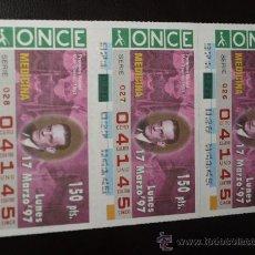Cupones ONCE: CUPON ONCE TIRA DE 3 CUPONES PREMIO NOBEL MEDICINA MAX THEILER Nº 04145 17 MARZO 1997. Lote 28238653