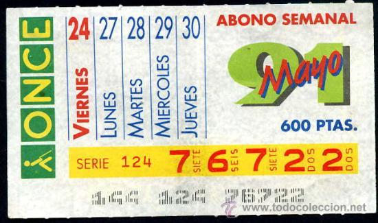 CUPON ABONO SEMANAL MAYO 1991 (Coleccionismo - Lotería - Cupones ONCE)