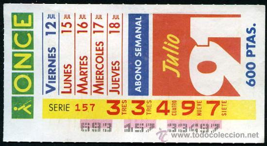 CUPON ABONO SEMANAL AÑO 1991 (Coleccionismo - Lotería - Cupones ONCE)