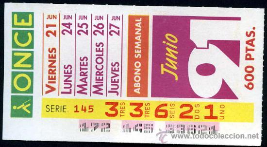 CUPON ABONO SEMANAL JUNIO 1991 (Coleccionismo - Lotería - Cupones ONCE)