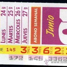 Cupones ONCE: CUPON ABONO SEMANAL JUNIO 1991. Lote 29991810