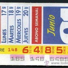 Cupones ONCE: CUPON ABONO SEMANAL DE JUNIO DE 1991. Lote 29991832