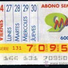 Cupones ONCE: CUPON ABONO SEMANAL DE MAYO DE 1991. Lote 29991855