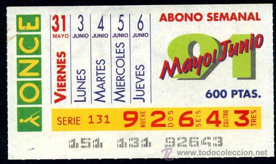 CUPON ABONO SEMANAL MAYO-JUNIO DE 1991 (Coleccionismo - Lotería - Cupones ONCE)