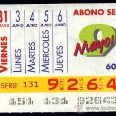 Cupones ONCE: CUPON ABONO SEMANAL MAYO-JUNIO DE 1991. Lote 29991889