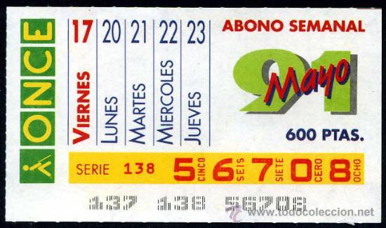 CUPON ABONO SEMANAL MAYO DE 1991 (Coleccionismo - Lotería - Cupones ONCE)