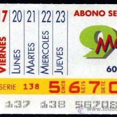 Cupones ONCE: CUPON ABONO SEMANAL MAYO DE 1991. Lote 29991957