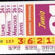 Cupones ONCE: CUPON ABONO SEMANAL DE JUNIO DE 1991. Lote 29991975
