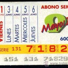 Cupones ONCE: CUPON ABONO SEMANAL DE MAYO-JUNIO DE 1991. Lote 29992028