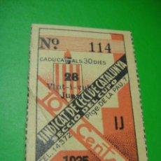 Cupones ONCE: CUPON DEL SINDICATO DE CIEGOS DE CATALUÑA AÑO 1935. Lote 30134613
