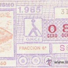 Cupones ONCE: 1 CUPON DE LA ONCE - 31 OCTUBRE 1985 - AUTOMOVILISMO - COCHES ANTIGUOS - LEDL AS-160. Lote 31069621