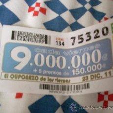 Cupones ONCE: CUPÓN DE LA ONCE. 23 DE DICIEMBRE DE 2011.. Lote 31151471