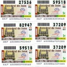 Cupones ONCE: 10 CUPONES DE LA ONCE 11/07/10, MOTIVO CATEDRAL DE JAEN. Lote 31422776