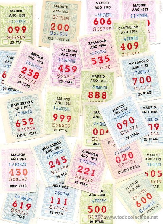 CUPONES DE LA ONCE COLECCION COMPLETA POR NUMEROS DEL 000 AL 999 ENVIO GRATIS (Coleccionismo - Lotería - Cupones ONCE)