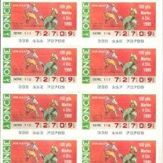 Cupones ONCE: HOJA 20 CUPONES ONCE 1990. Lote 32649009