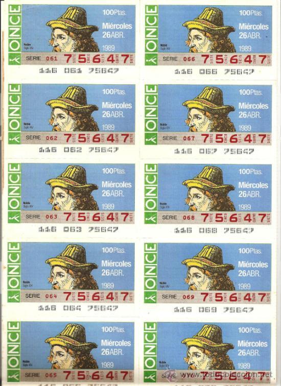 HOJA 20 CUPONES ONCE 1989 (Coleccionismo - Lotería - Cupones ONCE)